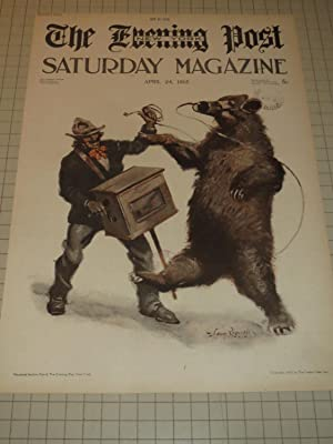 """1915 The Evening Post Saturday Magazine Cover of """"Organ Grinder & Dancing Bear"""""""