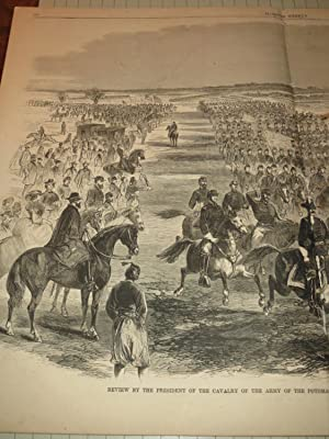 """1863 HW Engraving of """"Review by the President of the Cavalry of the Army of the Potomac--..."""