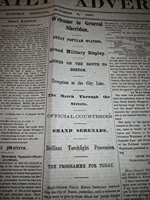 1867 Boston Daily Advertiser Newspaper: General Sheridan Procession - Baseball Game Between Harvard...