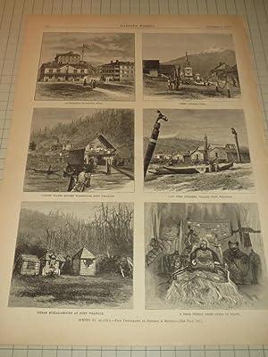 """1879 HW Engraving """"Scenes in Alaska"""" (Six Views): Peterson & Brother"""