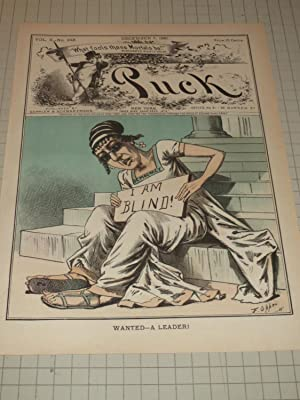 """1881 Puck Lithograph of """"Wanted-A Leader!"""" - U.S.Democracy """"I'am Blind"""" - ..."""