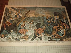 "1885 Puck Lithograph of "" They Saw Their Flying Dutchman""---It Crossed Their Path, and ..."