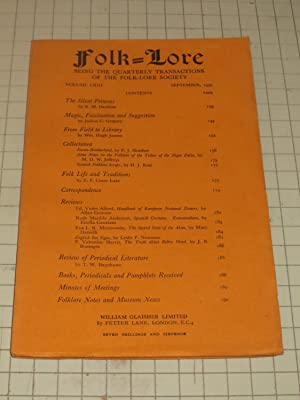 1952 Folk-Lore Magazine: The Silent Princess - Magic, Fascination and Suggestion - Some Notes on ...