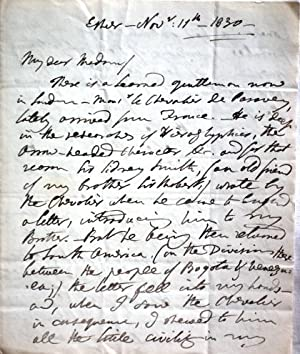 AUTOGRAPH LETTER SIGNED, to MRS. RICH, from: PORTER, Jane.