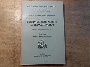 L'emploi des temps verbaux en francais moderne: Imbs,Paul