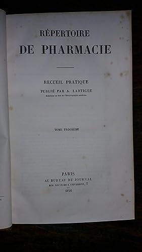 Répertoire de pharmacie Tome III: A. LARTIGUE