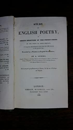 Study of English Poetry, or Choice selection of the finest pieces of the poets of GreatBritain, ...