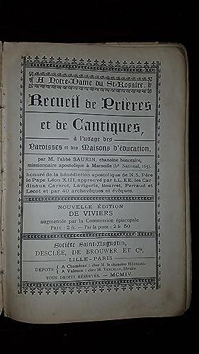 RECUEIL DE PRIERES ET DE CANTIQUES, A: Abbé SAURIN