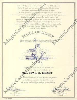 Statue of Liberty-Ellis Island Centennial Commission Certificate Signed by Gerald R. Ford and Lee...