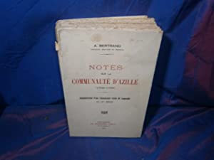 Notes sur la communaute d'azille 1709 - 1795