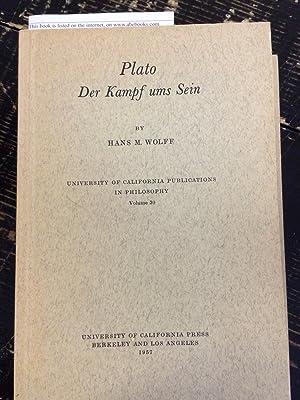 Plato der Kampf ums Sein: Wolff, Hans M.