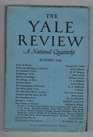 The Yale Review: A National Quarterly. Autumn 1948 Volume XXXVIII (38) Number 1.