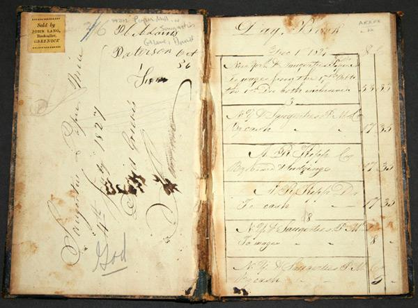 [MANUSCRIPT DAY BOOK KEPT BY DAVID GRIEVE OF SAUGERTIES, NEW YORK, DETAILING THE ACCOUNTS OF THE ...