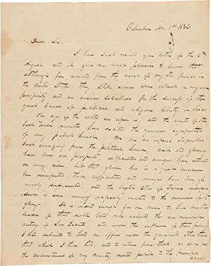 MANUSCRIPT LETTER IN A SECRETARIAL HAND, SIGNED: Houston, Sam: