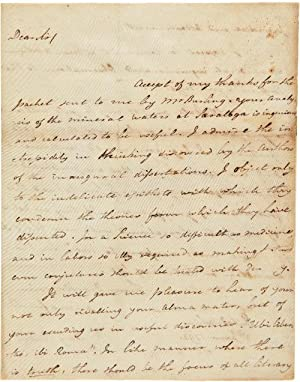 AUTOGRAPH LETTER, SIGNED, FROM BENJAMIN RUSH TO: Rush, Benjamin: