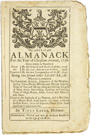 THE AMERICAN ALMANACK FOR THE YEAR OF CHRISTIAN ACCOUNT, 1738.