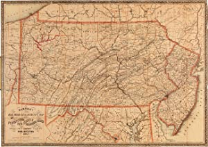 BARNES'S RAIL ROAD, CANAL & COUNTY MAP OF PENNSYLVANIA NEW JERSEY & ADJOINING STATES