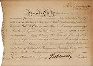 [PRINTED CERTIFICATE FOR THE NORTH AMERICAN LAND COMPANY, COMPLETED IN MANUSCRIPT AND SIGNED BY J...