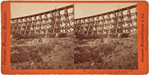 SECTION OF THE LONG RAVINE TRESTLE BRIDGE, FROM BELOW, 120 FEET HIGH. CENTRAL PACIFIC RAILROAD [c...
