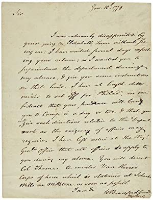 [AUTOGRAPH LETTER, SIGNED, FROM WILLIAM BRADFORD, JR. TO JOSEPH CLARK, LEAVING CLARK IN CHARGE WH...