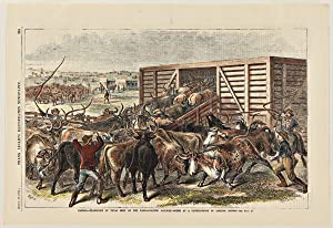 KANSAS. - TRANSPORT OF TEXAS BEEF ON THE KANSAS-PACIFIC RAILWAY - SCENE AT A CATTLE-SHOOT IN ABIL...
