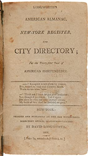 LONGWORTH'S AMERICAN ALMANAC, NEW-YORK REGISTER, AND CITY DIRECTORY.