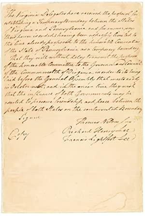 [MANUSCRIPT DOCUMENT IN THE HAND OF RICHARD HENRY LEE, SIGNED BY HIM AND BY HIM ON BEHALF OF FRAN...
