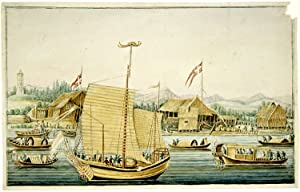 CHINESE WAR JUNK OR COMMANDER'S VESSEL IN FRONT OF THE DANISH SETTLEMENT, DRAWN AFTER NATURE IN T...