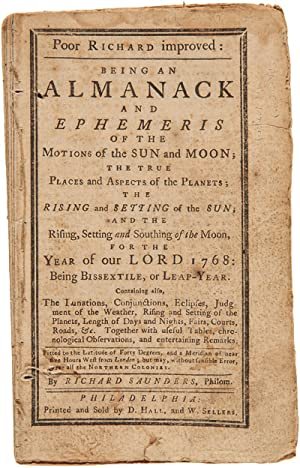 POOR RICHARD IMPROVED: BEING AN ALMANACK AND EPHEMERIS OF THE MOTIONS OF THE SUN AND MOON.FOR THE...