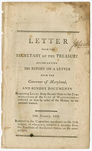 LETTER FROM THE SECRETARY OF THE TREASURY ACCOMPANYING HIS REPORT ON A LETTER FROM THE GOVERNOR O...