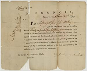 [PRINTED PAY RECEIPT FOR CAPTAIN GIBB JONES, SIGNED BY JOHN DICKINSON AS PRESIDENT OF PENNSYLVANIA]