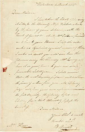 AUTOGRAPH LETTER, SIGNED, FROM BENEDICT ARNOLD TO: Arnold, Benedict