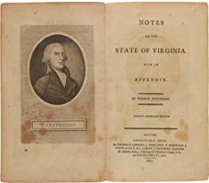 NOTES ON THE STATE OF VIRGINIA. WITH AN APPENDIX