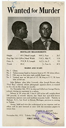 [PHOTOGRAPHIC WANTED POSTER FOR AN AFRICAN-AMERICAN MURDER SUSPECT IN TOLEDO, OHIO IN 1913]