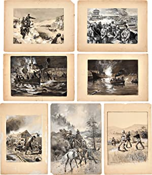 [SEVEN PIECES OF ORIGINAL ARTWORK USED AS ILLUSTRATIONS FOR THE BOOKS,