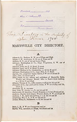 HALE & EMORY'S MARYSVILLE CITY DIRECTORY. AUGUST 1853. FIRST PUBLICATION
