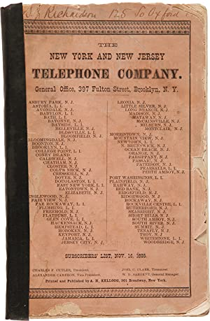 THE NEW YORK AND NEW JERSEY TELEPHONE COMPANY.LIST OF SUBSCRIBERS CONNECTED NOV. 16, 1885