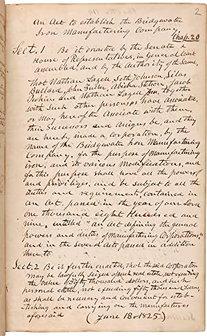 [MANUSCRIPT RECORD COPYBOOK FOR THE BRIDGEWATER IRON MANUFACTURING COMPANY]