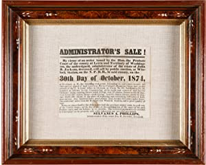 ADMINISTRATOR'S SALE! BY VIRTUE OF AN ORDER ISSUED BY THE HON. THE PROBATE COURT OF THE COUNTY OF...