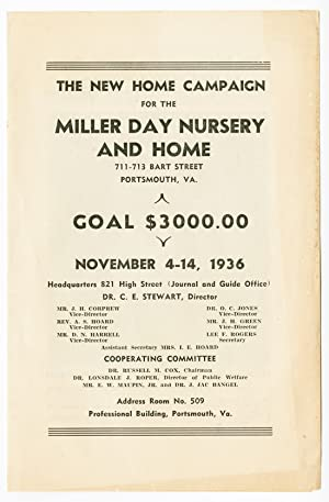 THE NEW HOME CAMPAIGN FOR THE MILLER DAY NURSERY AND HOME. [caption title]