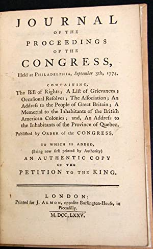 JOURNAL OF THE PROCEEDINGS OF THE CONGRESS,: Continental Congress]: