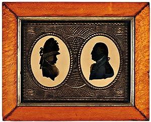 EGLOMISE SILHOUETTE PROFILE PORTRAITS OF GEORGE AND MARTHA WASHINGTON ON GLASS].: Washington, ...