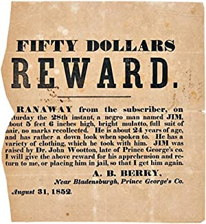 FIFTY DOLLARS REWARD. RANAWAY FROM THE SUBSCRIBER, ON SATURDAY THE 28th INSTANT.[caption title and ...