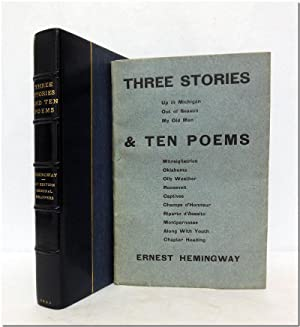 THREE STORIES & TEN POEMS.: Hemingway, Ernest: