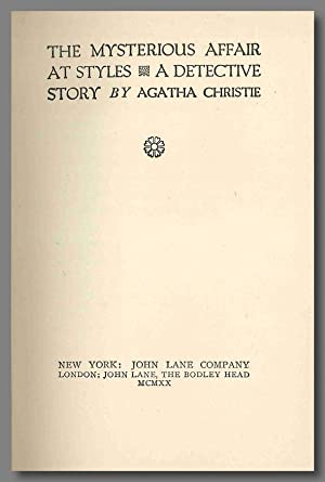 THE MYSTERIOUS AFFAIR AT STYLES A DETECTIVE: Christie, Agatha: