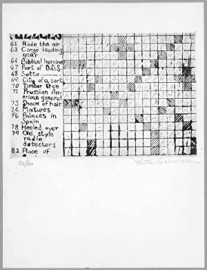 [Original Untitled Monochrome Etching - CROSSWORD PUZZLE]