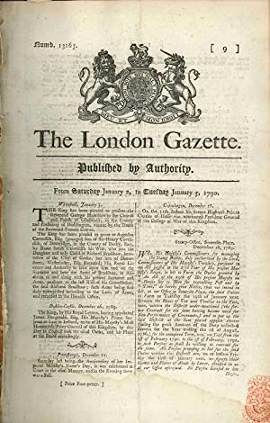 THE LONDON GAZETTE. PUBLISHED BY AUTHORITY. [caption title]