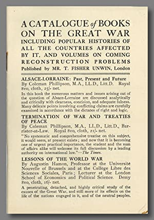 A CATALOGUE OF BOOKS ON THE GREAT WAR . PUBLISHED BY T. FISHER UNWIN