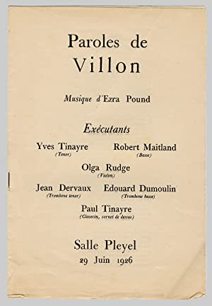 PAROLES DE VILLON MUSIQUE D'EZRA POUND . [caption title]