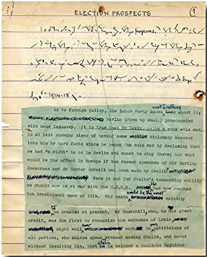 SHORTHAND MANUSCRIPT DRAFT OF